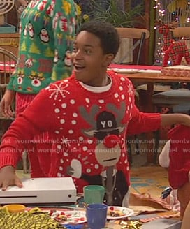 Booker's christmas ugly sweater on Ravens Home