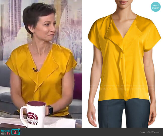 Intessa Ruffle Stretch-Silk Blouse by Boss worn by Stephanie Gosk on Today Show