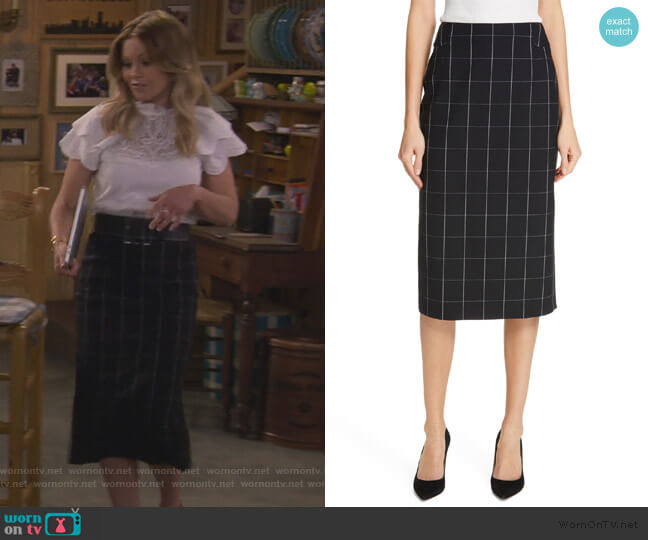 Vedani Windowpane Pencil Skirt by BOSS worn by DJ Tanner-Fuller (Candace Cameron Bure) on Fuller House