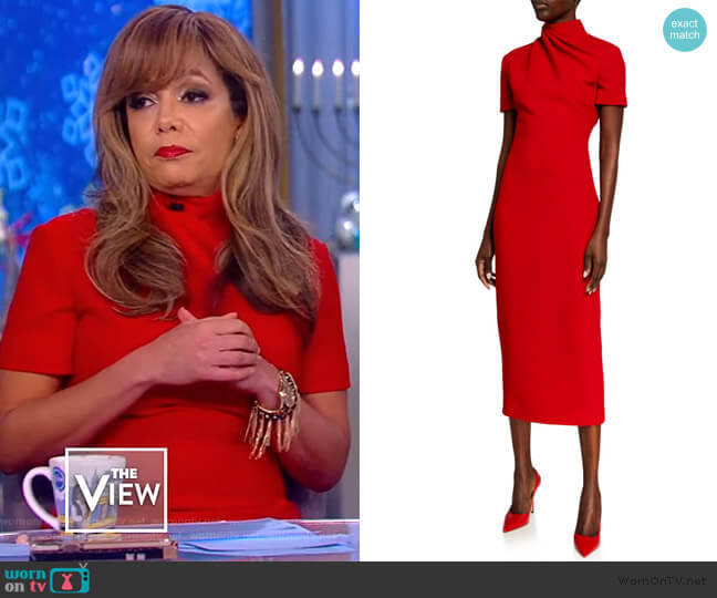 Draped wool-crepe midi dress by Brandon Maxwell worn by Sunny Hostin  on The View