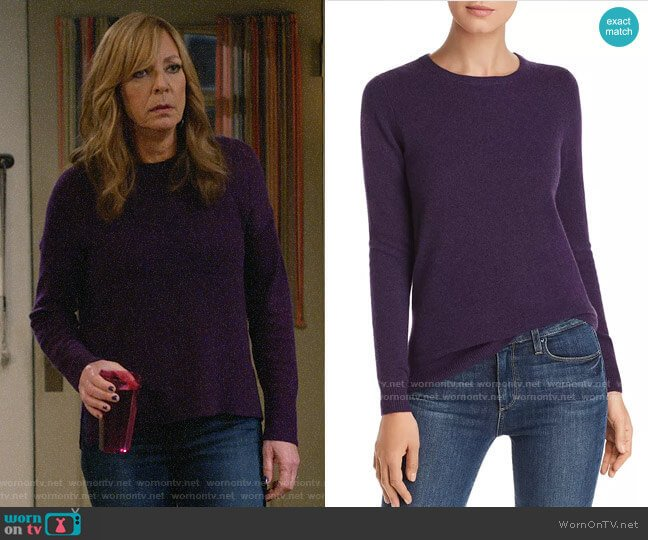 C by Bloomingdales Crewneck Cashmere Sweater worn by Bonnie Plunkett (Allison Janney) on Mom