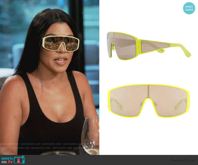 x KKW Gemini 140mm Shield Sunglasses by Carolina Lemke worn by Kourtney Kardashian  on Keeping Up with the Kardashians
