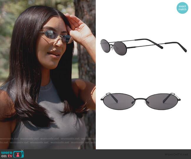 x KKW Sand 53mm Flat Front Oval Sunglasses by Carolina Lemke worn by Kim Kardashian  on Keeping Up with the Kardashians