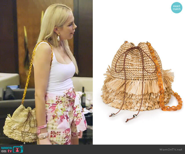 Fringed Bucket Bag by Carolina Santo Domingo worn by Kameron Westcott  on The Real Housewives of Dallas