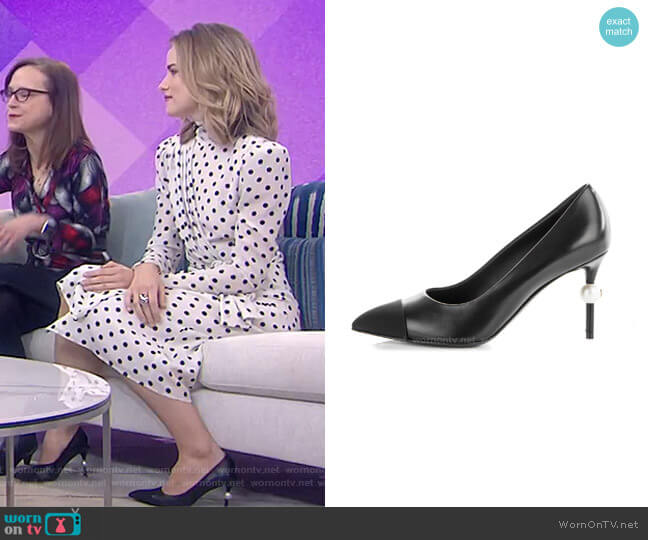 Goatskin Grosgrain Cap Toe Pearl Pumps by Chanel worn by Willa Fitzgerald on Today Show