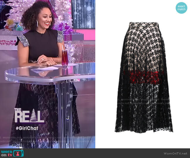 Pleated Lace Midi Skirt by Christopher Kane worn by Tamera Mowry  on The Real