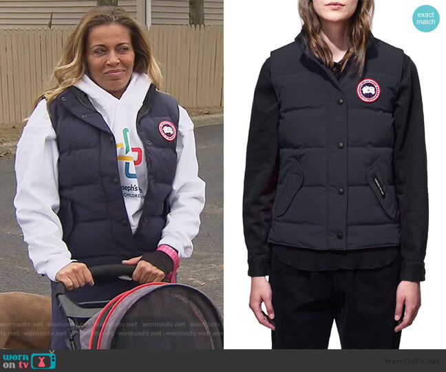 Freestyle Down Vest by Canada Goose worn by Dolores Catania  on The Real Housewives of New Jersey