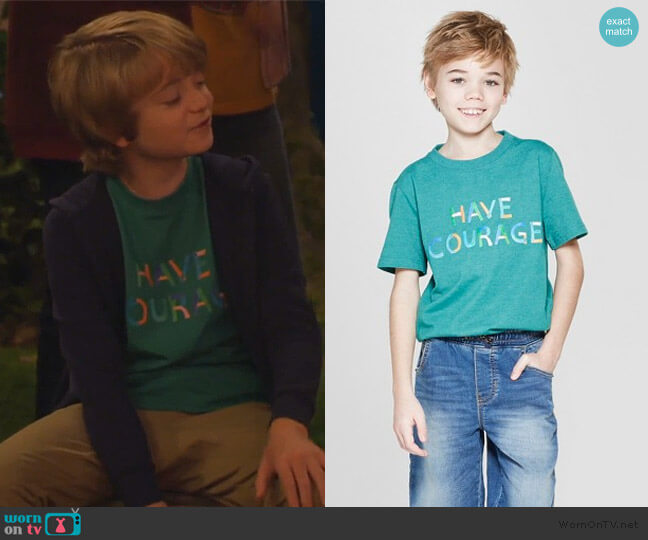 Have Courage short sleeve t-shirt by Cat & Jack at Target worn by Finn Sawyer (Will Buie Jr) on Bunkd