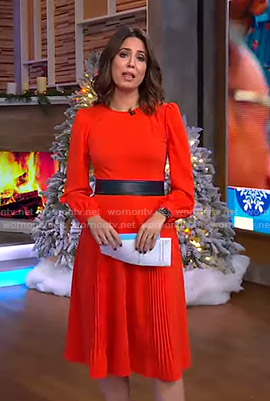 Cecilia's red long sleeve dress on Good Morning America