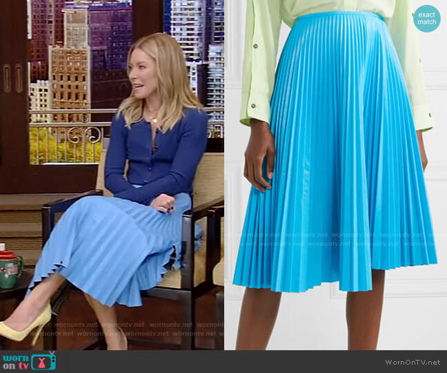 Pleated Faux Leather Skirt by Cédric Charlier worn by Kelly Ripa  on Live with Kelly & Ryan