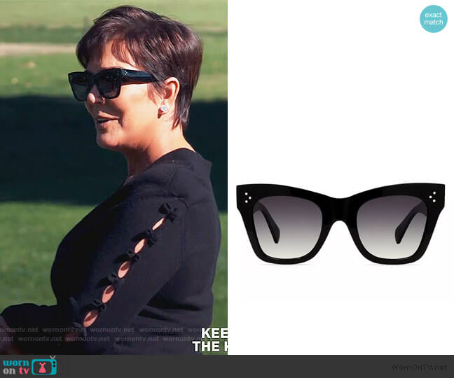 Adjusted Fit 56mm Cat Eye Sunglasses by Celine worn by Kris Jenner  on Keeping Up with the Kardashians