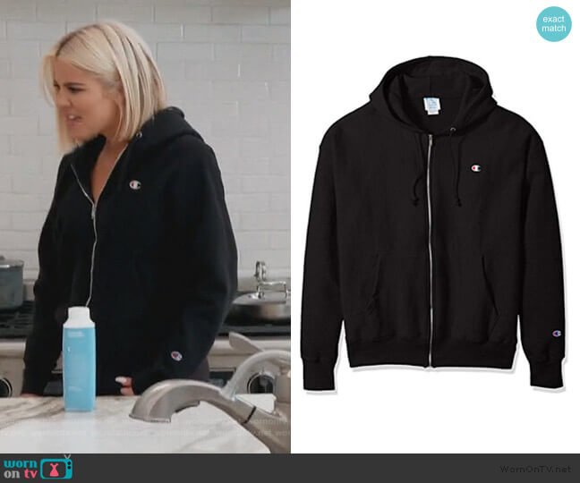 Mens Life Reverse Weave Full-Zip Hoodie by Champion worn by Khloe Kardashian  on Keeping Up with the Kardashians