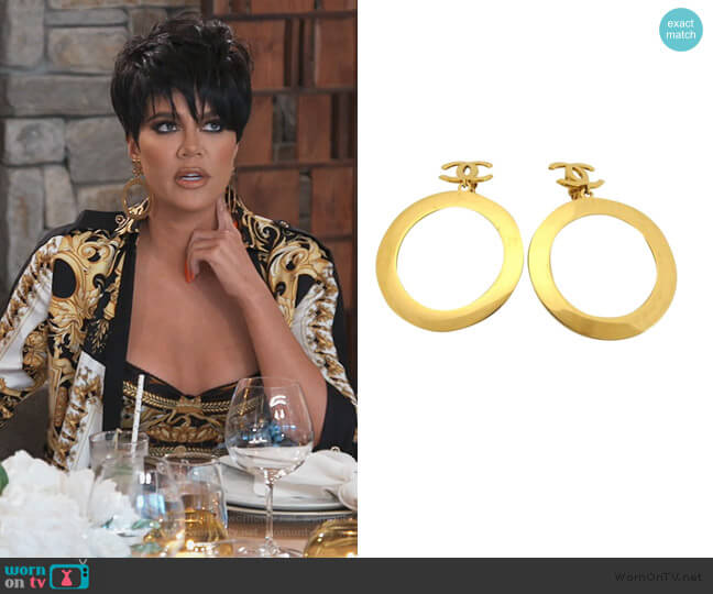 Vintage Gold Logo Drop Earrings by Chanel worn by Khloe Kardashian  on Keeping Up with the Kardashians