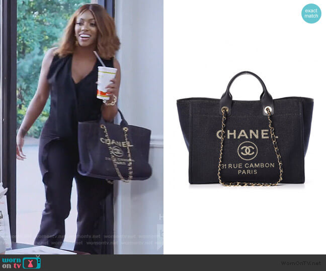 Lurex Canvas Large Deauville Tote by Chanel worn by Porsha Williams  on The Real Housewives of Atlanta