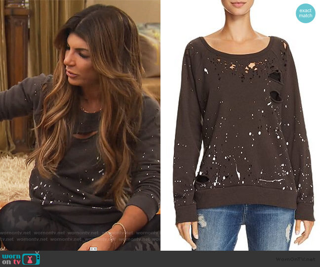 Studded Cold Shoulder Top by INC International Concepts worn by Teresa Giudice  on The Real Housewives of New Jersey
