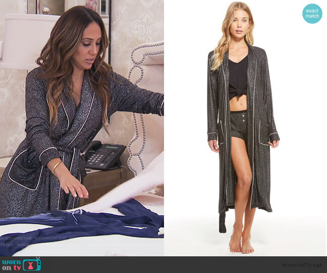 Belted Glitter Lounge Robe by Chaser worn by Melissa Gorga  on The Real Housewives of New Jersey