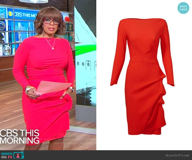 Cassandre Dress by Chiara Boni La Petite Robe worn by Gayle King  on CBS This Morning
