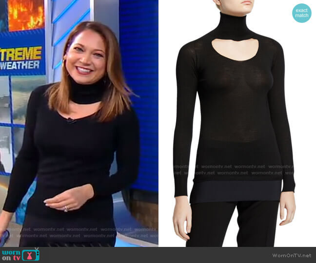 M Fay Turtleneck Long-Sleeve Cutout Top by Chiara Boni La Petite Robe worn by Ginger Zee  on Good Morning America