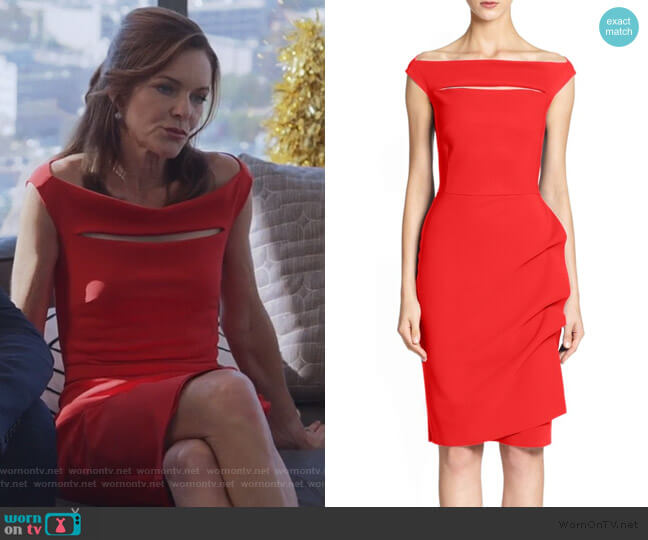 Melania Short Off-The-Shoulder Dress by Chiara Boni La Petite Robe worn by Susan Walters on Good Trouble
