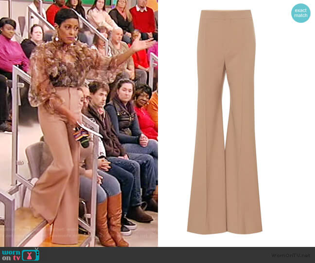 Stretch-wool high-rise flared pants by Chloe worn by Tamron Hall  on Tamron Hall Show