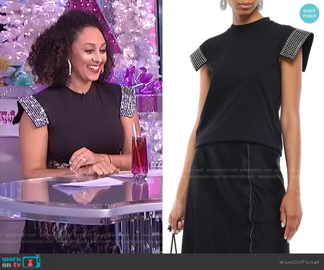 Crystal-Embellished Top by Christopher Kane worn by Tamera Mowry  on The Real