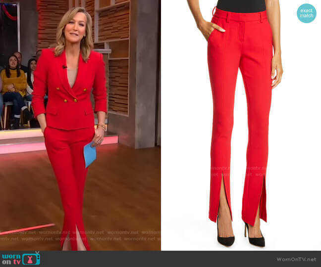 Conway Front Slit Pants by A.L.C. worn by Lara Spencer  on Good Morning America