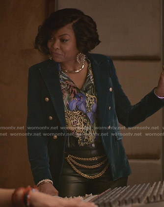 Cookie's cheetah print blouse and green velvet blazer on Empire