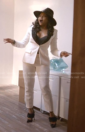 Cookie's white jacquard suit on Empire
