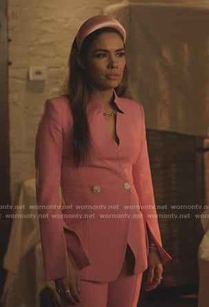 Cristal's pink double breasted blazer on Dynasty