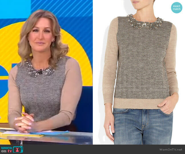 Crystal-Collar Herringbone Sweater by J. Crew worn by Lara Spencer  on Good Morning America