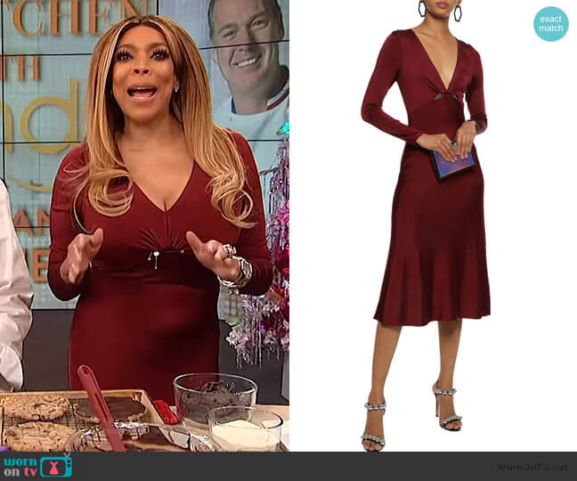 Cutout embellished satin-jersey midi dress by Cushnie worn by Wendy Williams  on The Wendy Williams Show