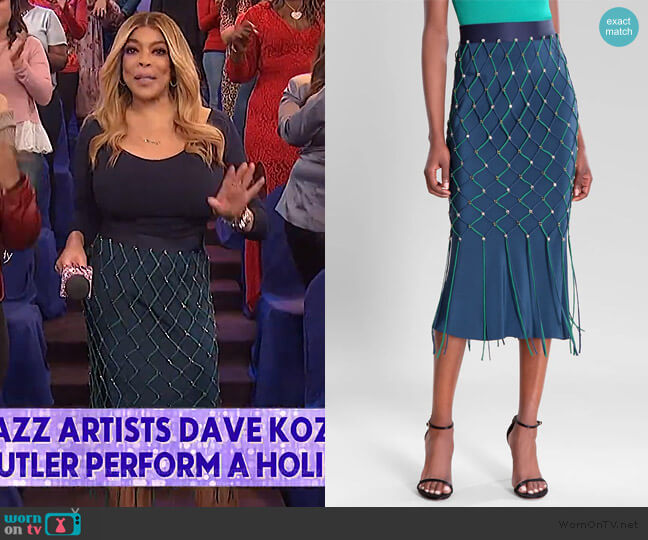 Ocean Vivica High Waisted Pencil Skirt by Cushnie worn by Wendy Williams  on The Wendy Williams Show