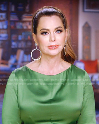 D'Andra's green satin ruched dress on The Real Housewives of Dallas