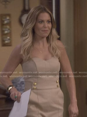 DJ's beige strapless jumpsuit on Fuller House