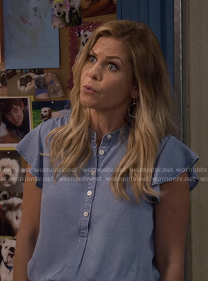 DJ's chambray flutter sleeve top on Fuller House