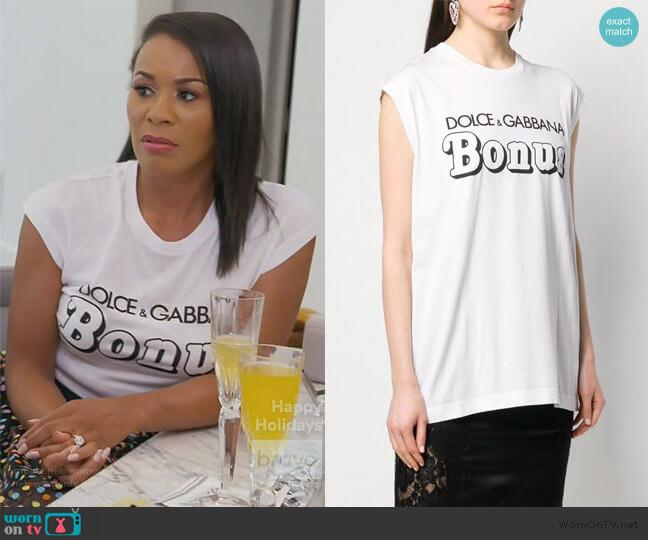Bonus T-shirt by Dolce & Gabbana worn by Yovanna Momplaisir on The Real Housewives of Atlanta