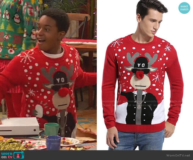 Holiday Reindeer Snowman Santa Snowflakes Sweater by Daisys Boutique worn by Booker Baxter (Issac Ryan Brown) on Ravens Home