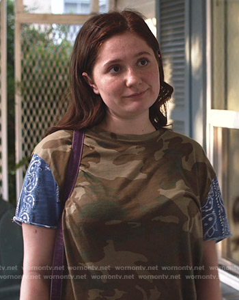 Debbie's camouflage and paisley print tee on Shameless