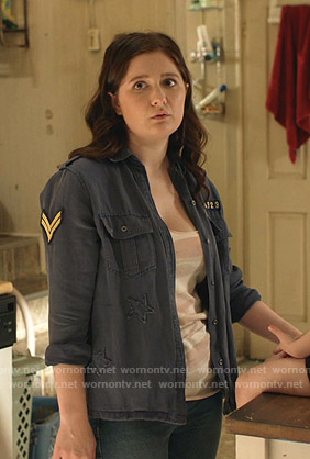 Debbie's navy military shirt on Shameless