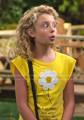Destiny's yellow floral applique tee on Bunkd
