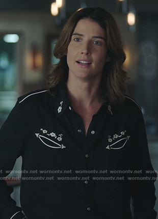 Dex's black embroidered western shirt on Stumptown