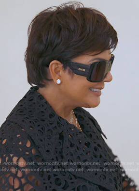 Kris's black Dior sunglasses on Keeping Up with the Kardashians