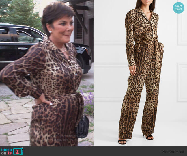 Leopard-print silk-twill jumpsuit by Dolce & Gabbana worn by Kris Jenner  on Keeping Up with the Kardashians