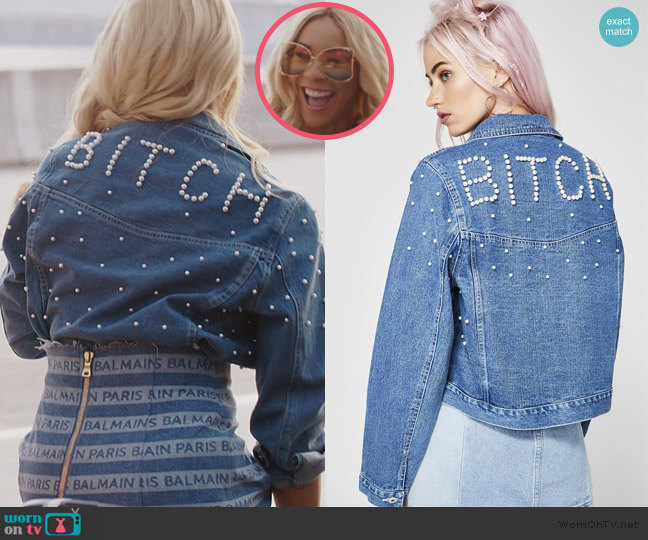 Boujee Bitch Denim Jacket by Dolls Kill worn by Yovanna Momplaisir on the Real Housewives of Atlanta