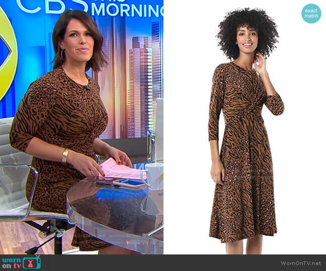 Criss Cross Front Animal Printed Jersey Dress by Donna Morgan worn by Dana Jacobson  on CBS This Morning