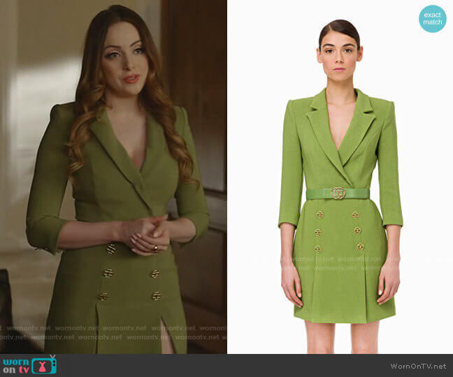 Double-breasted dress with belt by Elisabetta Franchi worn by Fallon Carrington (Elizabeth Gillies) on Dynasty