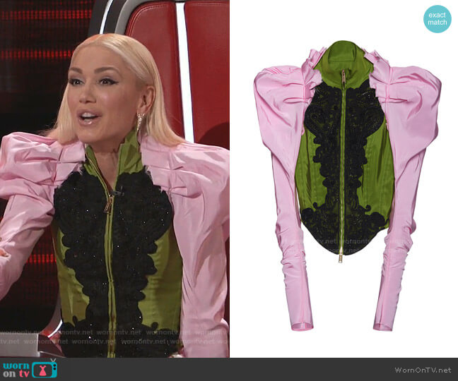 Embroidered Silk Bustier Jacket by Dsquared2  worn by Gwen Stefani  on The Voice