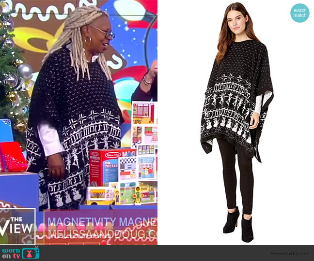 Fair Isle Knit Cape by Dubgee by Whoopi worn by Whoopi Goldberg  on The View