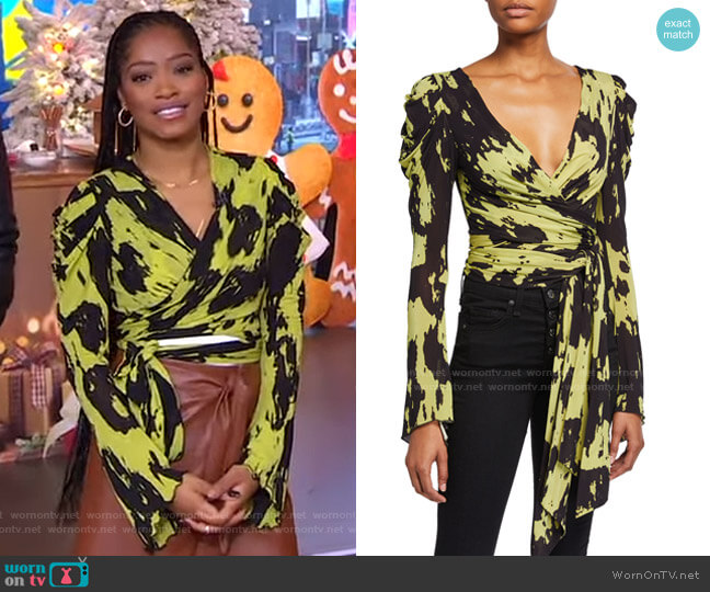 Kayleigh Print Jersey Wrap Top by Diane von Furstenberg worn by Keke Palmer  on Good Morning America