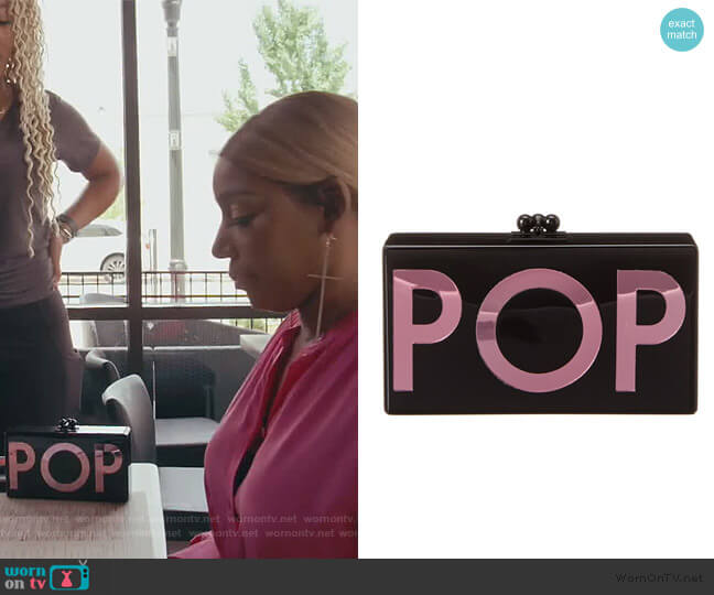 Jean Pop Acrylic Clutch by Edie Parker worn by Nene Leakes  on The Real Housewives of Atlanta